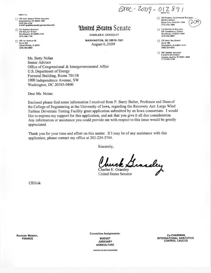 Sen. Grassley clean energy grant application 2