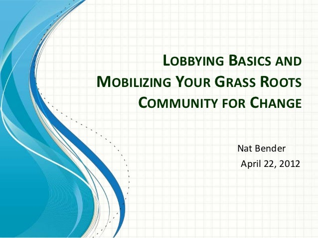 LOBBYING BASICS ANDMOBILIZING YOUR GRASS ROOTS     COMMUNITY FOR CHANGE                   Nat Bender                    Ap...