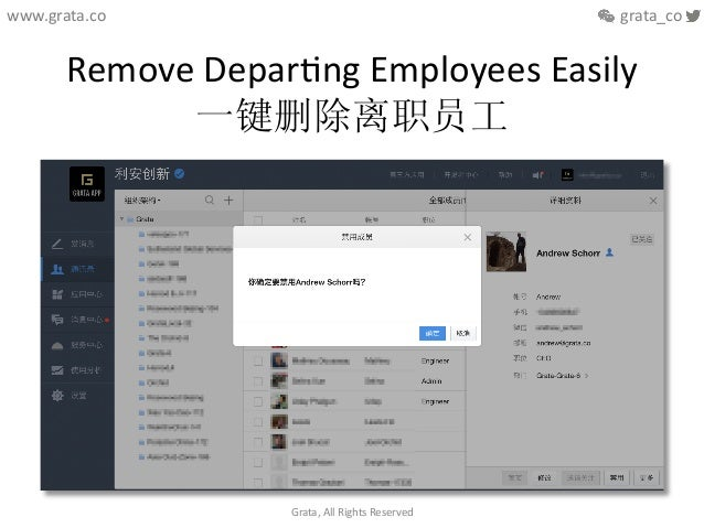 Remove  DeparCng  Employees  Easily   一键删除离职员工   Grata,  All  Rights  Reserved   www.grata.co      ...
