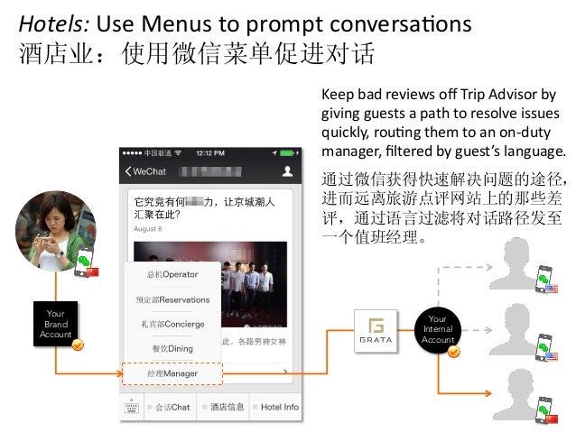 Hotels:  Use  Menus  to  prompt  conversaCons   酒店业:使用微信菜单促进对话   Keep  bad  reviews  off  Trip  Adv...