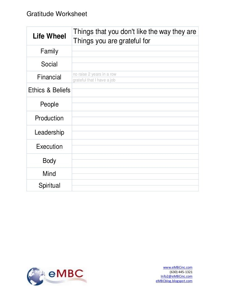 Gratitude Worksheet                   Things that you dont like the way they are Life Wheel                   Things you a...
