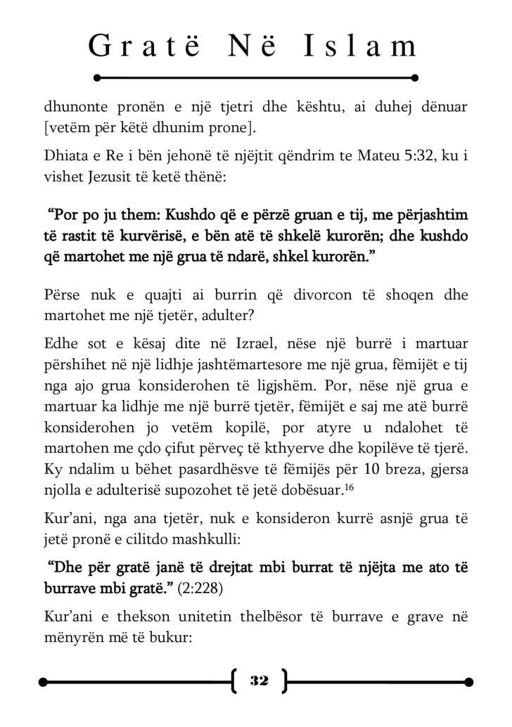 """Gratë Në Islam  """"Ato (gratë tuaja) janë rroba juaj dhe ju jeni rrobë për to. """" (2:187) Ashtu siç fshehin rrobat lakuriqësi..."""