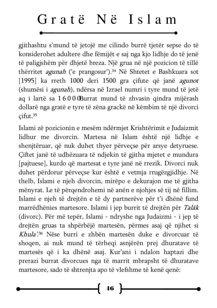 """Gratë Në Islam  """"Por nëse vendosni të merrni një grua në vend të një tjetre, edhe nëse i keni dhënë kësaj një thesar të të..."""