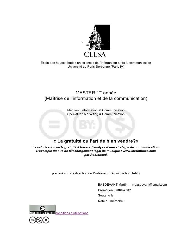 École des hautes études en sciences de l'information et de la communication                        Université de Paris-Sor...