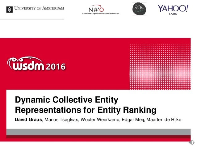 Dynamic Collective Entity Representations for Entity Ranking David Graus, Manos Tsagkias, Wouter Weerkamp, Edgar Meij, Maa...