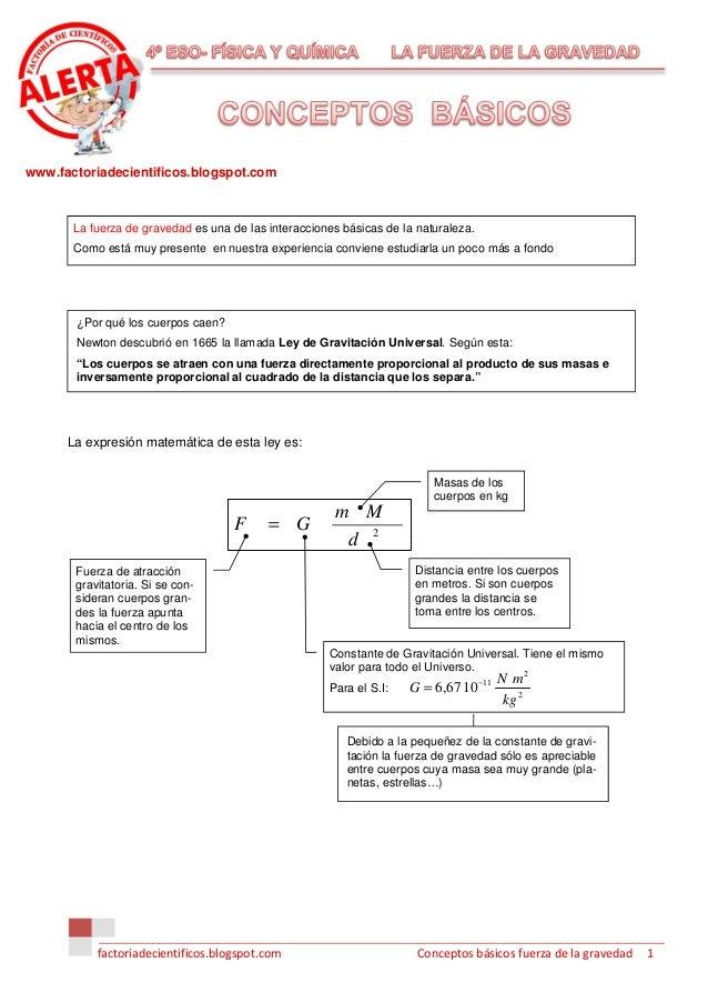 www.factoriadecientificos.blogspot.com       La fuerza de gravedad es una de las interacciones básicas de la naturaleza.  ...
