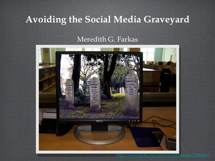 Avoiding the Social Media Graveyard <ul><li>Meredith G. Farkas </li></ul>http://www.flickr.com/photos/wimmulder/7609964/