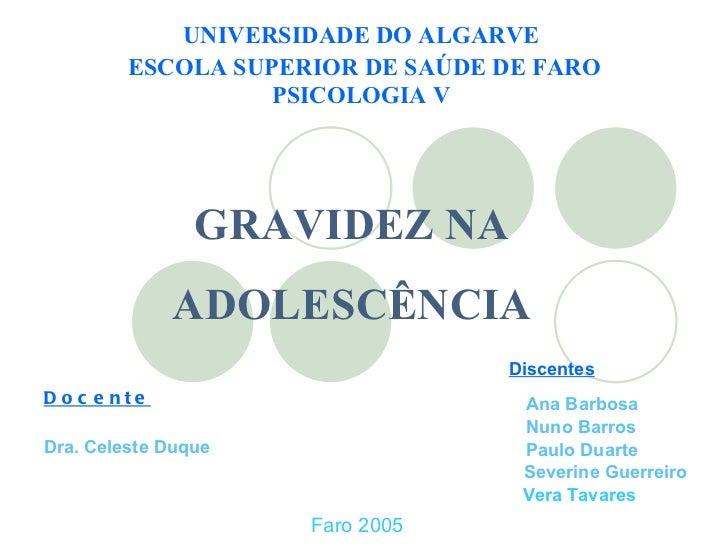 UNIVERSIDADE DO ALGARVE ESCOLA SUPERIOR DE SAÚDE DE FARO PSICOLOGIA V GRAVIDEZ NA ADOLESCÊNCIA Faro Faro 2005 Docente Ana ...