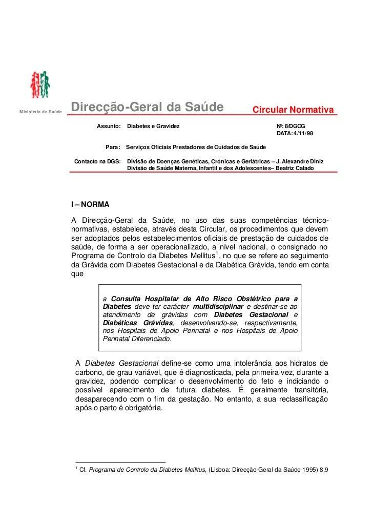 Ministério da Saúde                      Direcção-Geral da Saúde                                             Circular Norm...