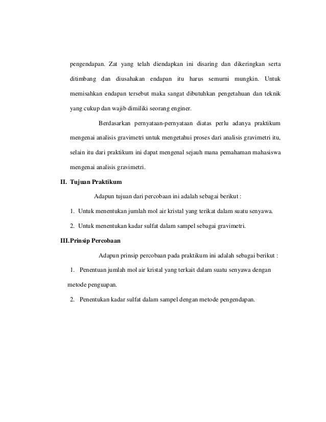 Laporan Praktikum Analisis Gravimetri