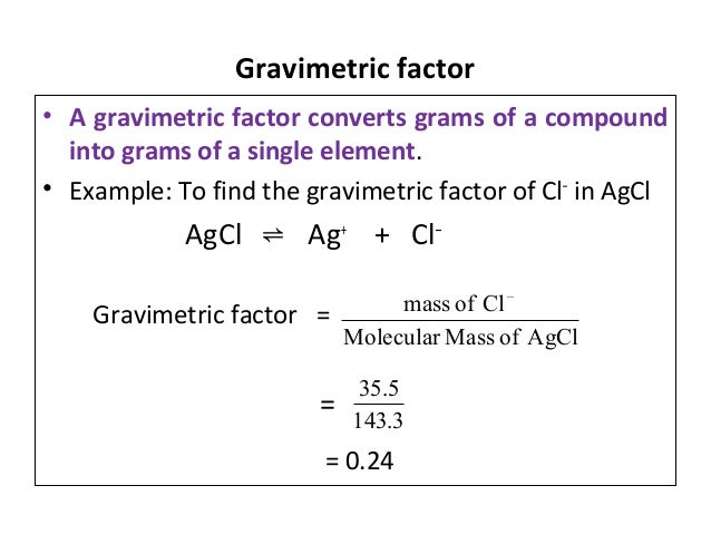 Gravimetric analysis of a salt