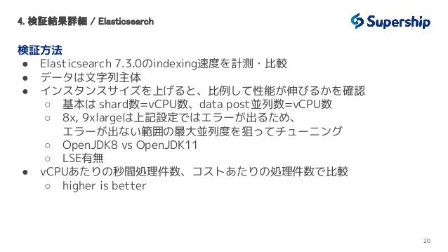 4. 検証結果詳細 / Elasticsearch 検証方法 ● Elasticsearch 7.3.0のindexing速度を計測・比較 ● データは文字列主体 ● インスタンスサイズを上げると、比例して性能が伸びるかを確認 ○ 基本は s...