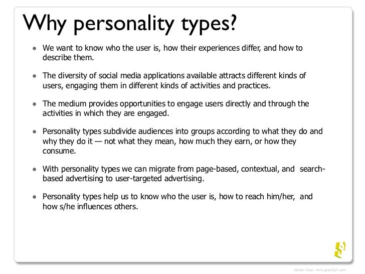 the five categories of my personality Let's break down each of these traits in more detail, and go over a few tips and tricks to help you figure out which category fits you best read related: the ultimate list of 600 personality traits openness openness, the first of the five big personality traits, refers to your openness to new experiences.