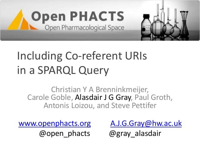 Including Co-referent URIs in a SPARQL Query Christian Y A Brenninkmeijer, Carole Goble, Alasdair J G Gray, Paul Groth, An...