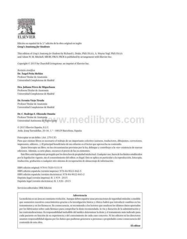 ELSEVIER Edición en español de la 3.aedición de la obra original en inglés Gray's Anatomyfor Students This edition of Gray...