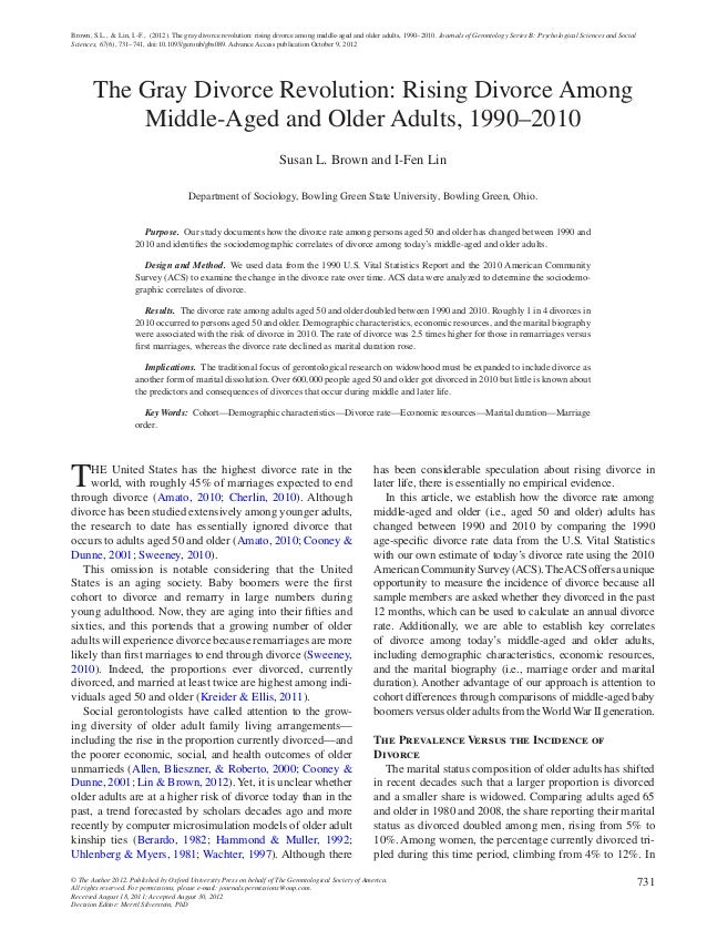 Brown, S.L., & Lin, I.-F., (2012). The gray divorce revolution: rising divorce among middle-aged and older adults, 1990–20...
