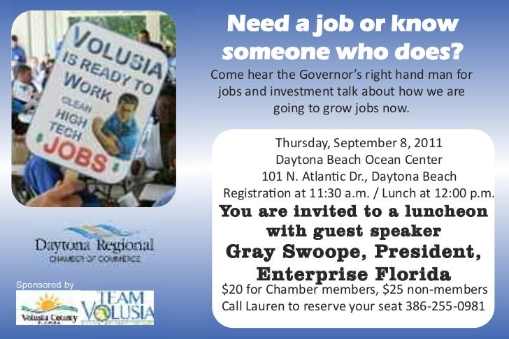 Need a job or know                someone who does?               Come hear the Governor's right hand man for             ...