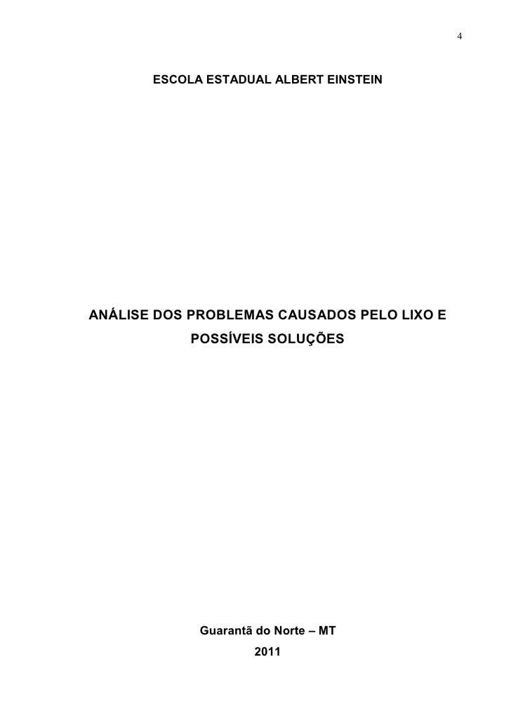 4       ESCOLA ESTADUAL ALBERT EINSTEINANÁLISE DOS PROBLEMAS CAUSADOS PELO LIXO E            POSSÍVEIS SOLUÇÕES           ...