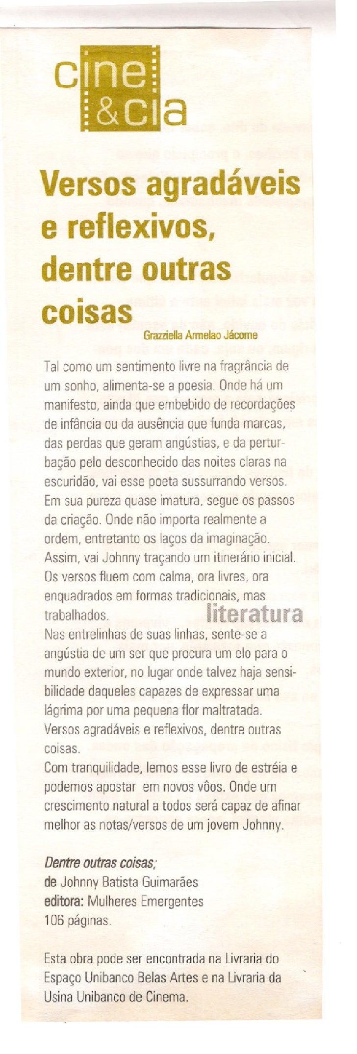 Versosagradáveis e reflexivos, dentreoutras    . cOisas            Grazziella                            ArmelaoJácome   T...