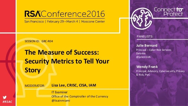 PANELISTS: SESSION ID: #RSAC MODERATOR: GRC-R04 Wendy Frank Principal, Advisory, Cybersecurity, Privacy & Risk, PwC Julie ...