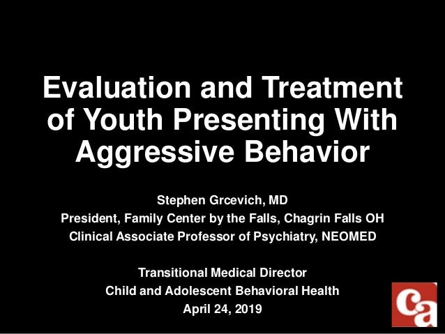 Evaluation and Treatment of Youth Presenting With Aggressive Behavior Stephen Grcevich, MD President, Family Center by the...