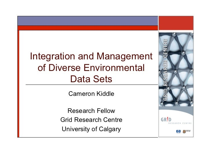 Integration and Management   of Diverse Environmental           Data Sets         Cameron Kiddle          Research Fellow ...