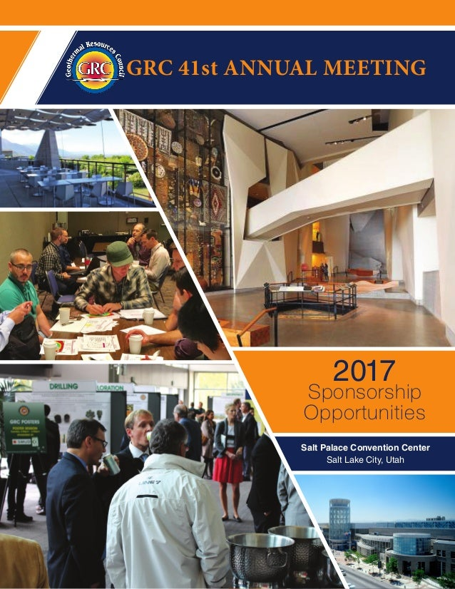 GRC 41st ANNUAL MEETING Sponsorship Opportunities 2017 Salt Palace Convention Center Salt Lake City, Utah