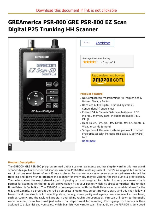 Download this document if link is not clickableGREAmerica PSR-800 GRE PSR-800 EZ ScanDigital P25 Trunking HH Scanner      ...