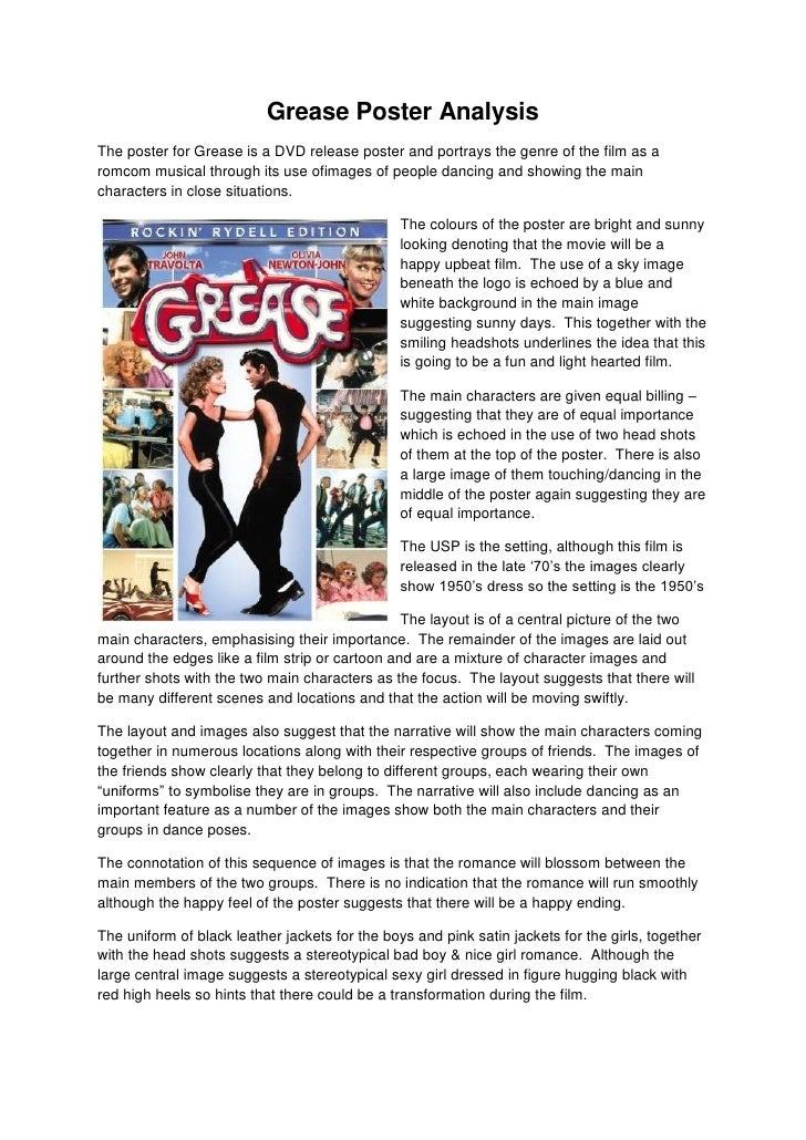 Grease Poster AnalysisThe poster for Grease is a DVD release poster and portrays the genre of the film as aromcom musical ...