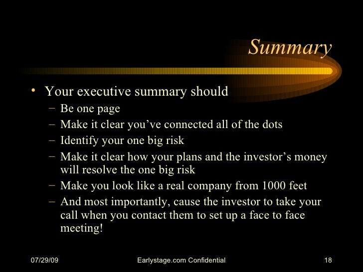 how to write and executive summary for a business plan business