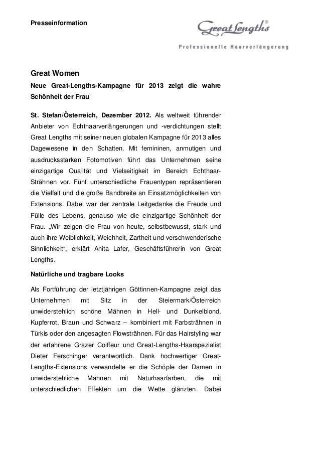PresseinformationGreat WomenNeue Great-Lengths-Kampagne für 2013 zeigt die wahreSchönheit der FrauSt. Stefan/Österreich, D...