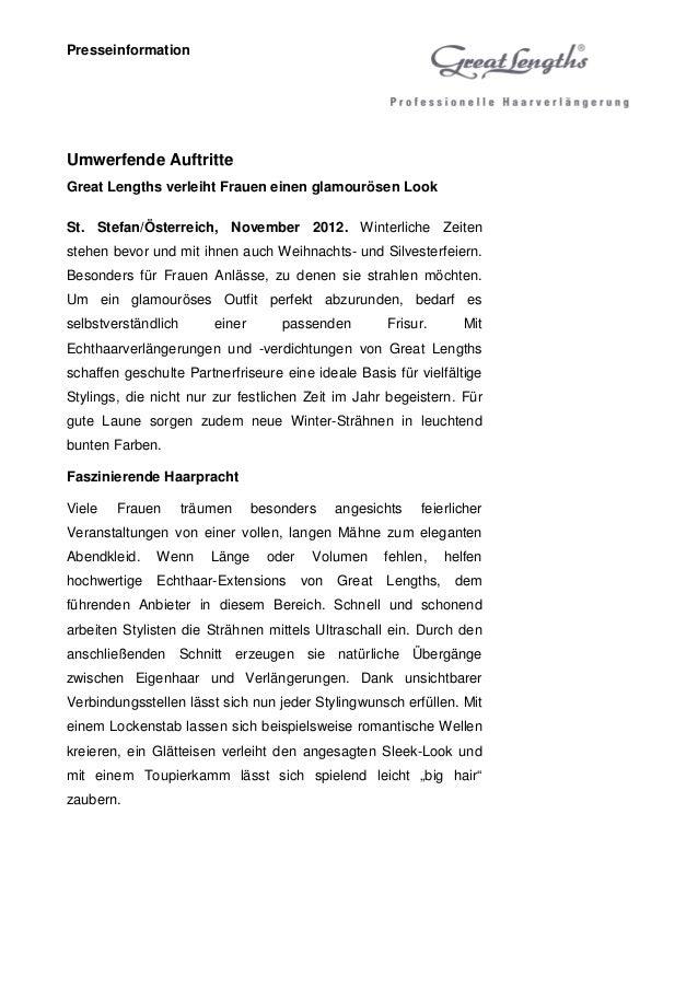 PresseinformationUmwerfende AuftritteGreat Lengths verleiht Frauen einen glamourösen LookSt. Stefan/Österreich, November 2...