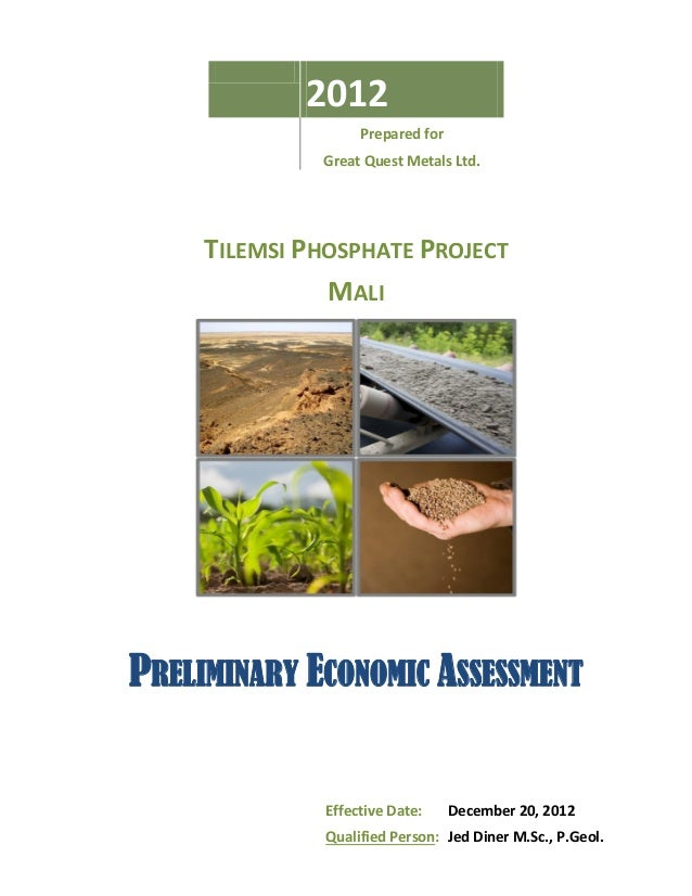 2012                   Prepared for              Great Quest Metals Ltd.     TILEMSI PHOSPHATE PROJECT               MALIP...