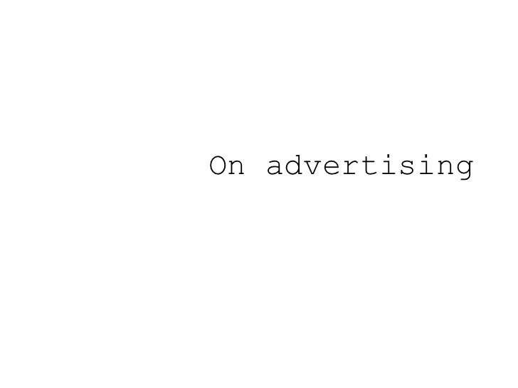On advertising