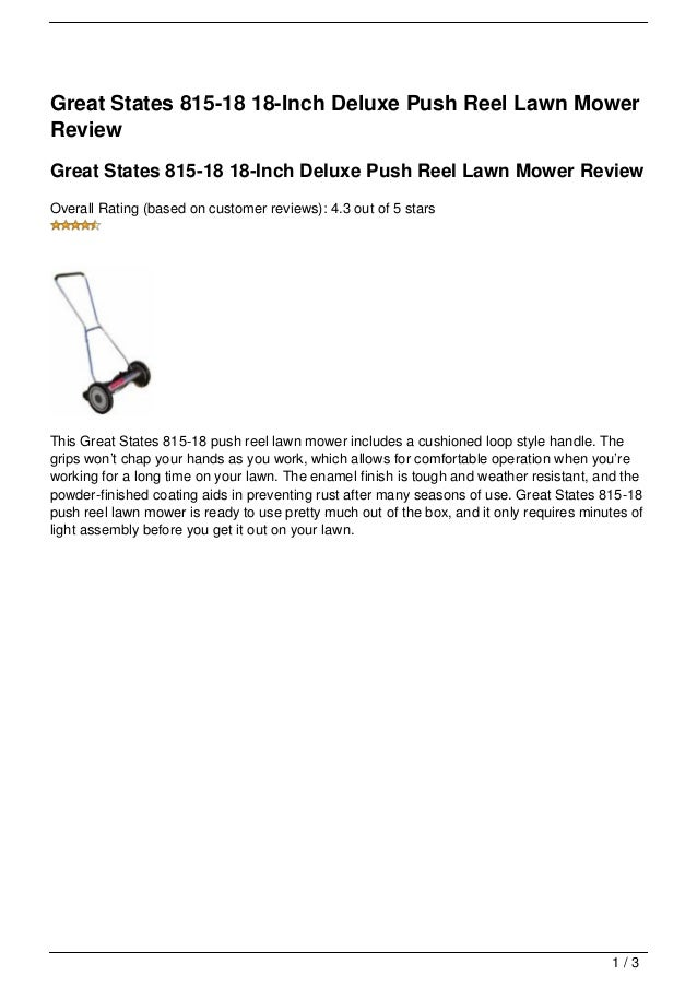 Great States 815-18 18-Inch Deluxe Push Reel Lawn MowerReviewGreat States 815-18 18-Inch Deluxe Push Reel Lawn Mower Revie...