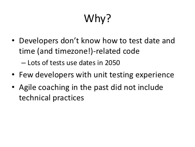 "Developers: ""we have a lot to learn about unittesting""Architect: ""I've always had doubts about ourautomated tests. Now I k..."