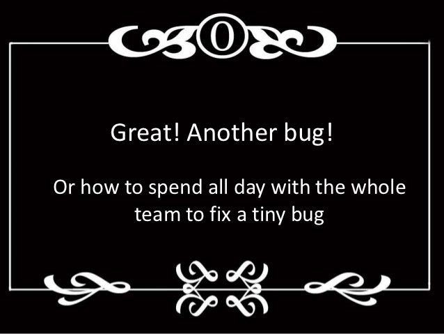 Great! Another bug!Or how to spend all day with the whole        team to fix a tiny bug