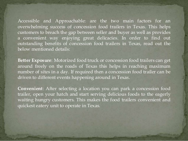 Great benefits of concession food trailers in texas Slide 2