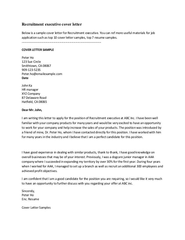 recruitment executive cover letterbelow is a sample cover letter for recruitment executive - Fantastic Cover Letter Examples