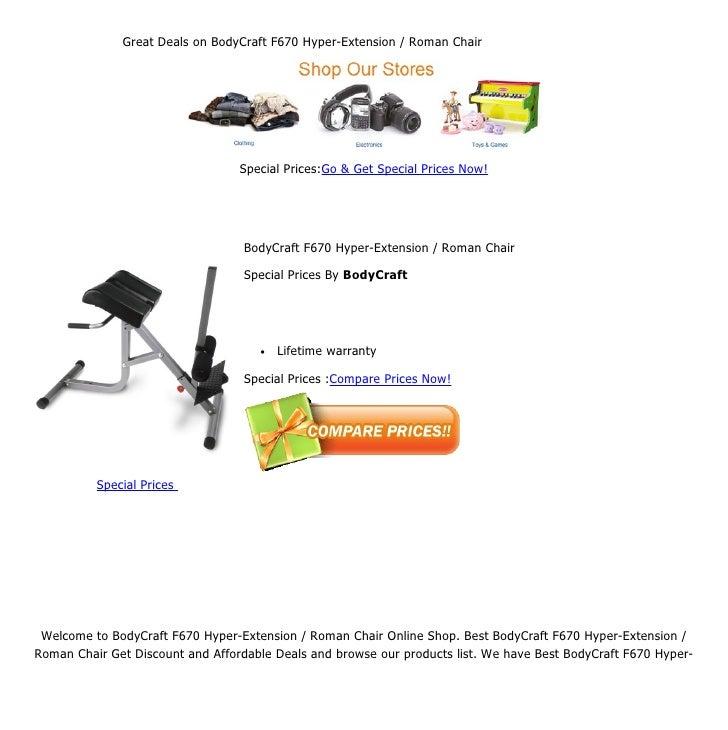 Great Deals On BodyCraft F670 Hyper Extension / Roman Chair ...