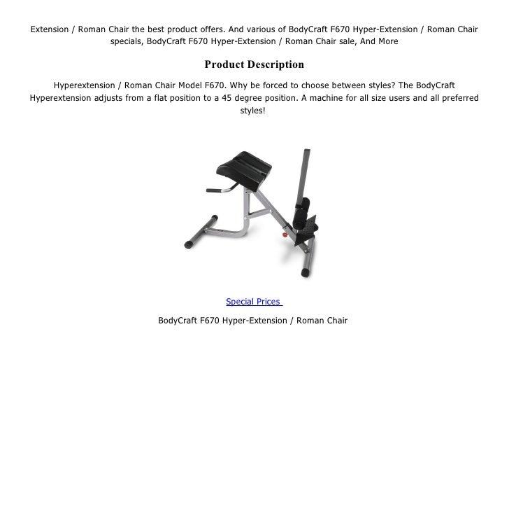 We Have Best BodyCraft F670 Hyper ; 2. Extension / Roman Chair ...