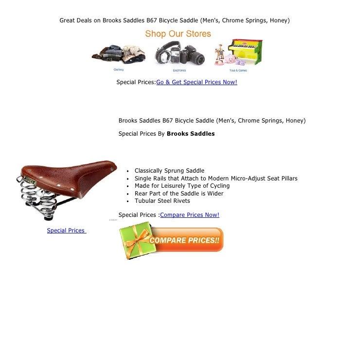 96e9f5fea8 Great deals on brooks saddles b67 bicycle saddle (men's, chrome springs,  honey)