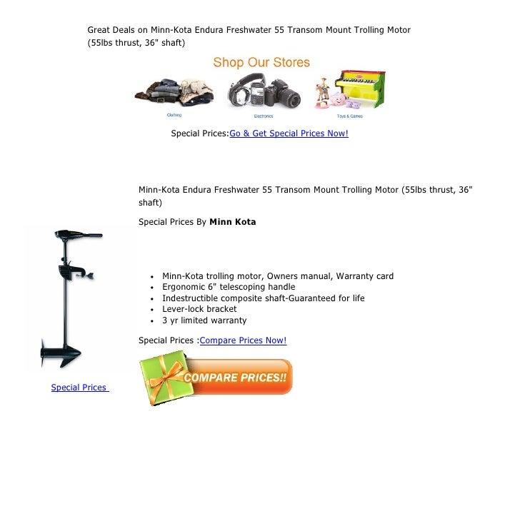 great deals on minn kota endura freshwater 55 transom mount trolling rh slideshare net minn kota owners manual power drive minn kota owners manual riptide