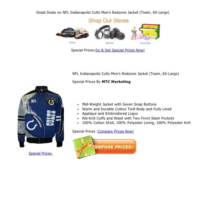 Great deals on nfl indianapolis colts men s redzone jacket (team 47744b594