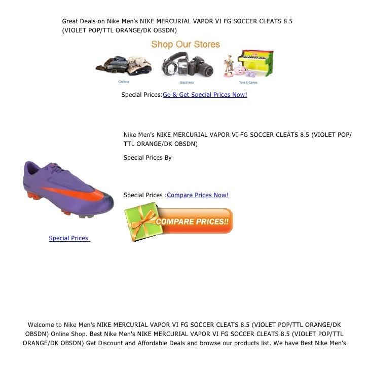 547272ee9518 Great deals on nike men's nike mercurial vapor vi fg soccer cleats 8.5 (violet  pop ttl orange dk obsdn)