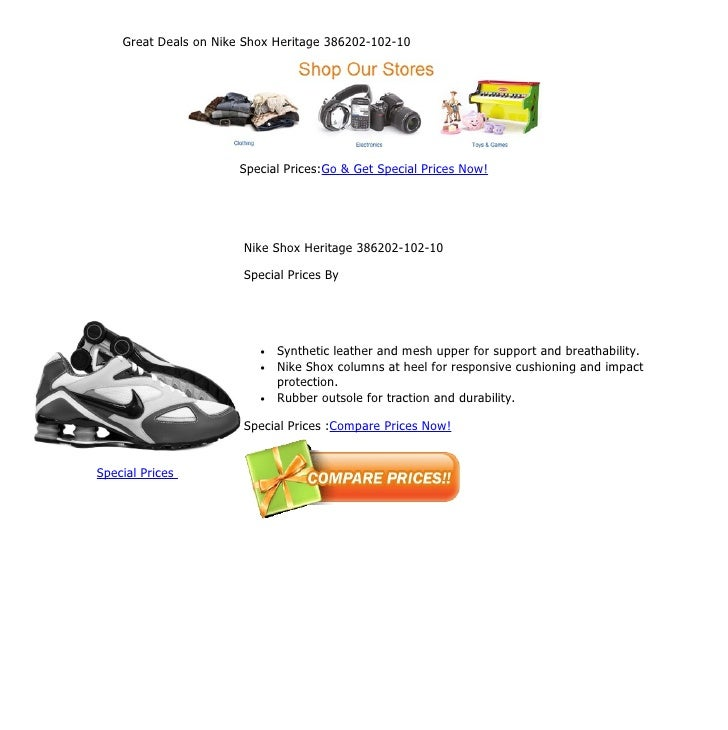 Great deals on nike shox heritage 386202 102-10 d9d1f074b