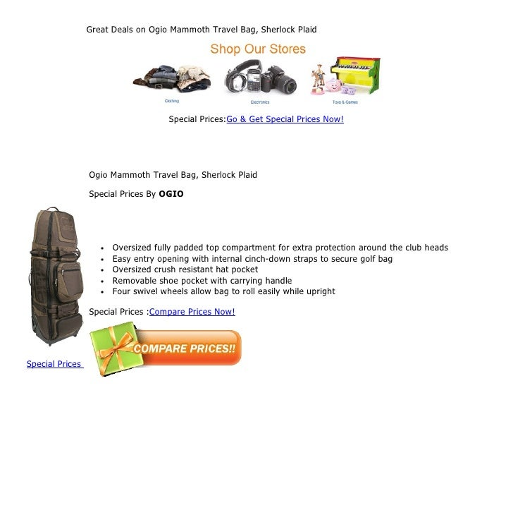 Great Deals on Ogio Mammoth Travel Bag, Sherlock Plaid                                     Special Prices:Go & Get Special...