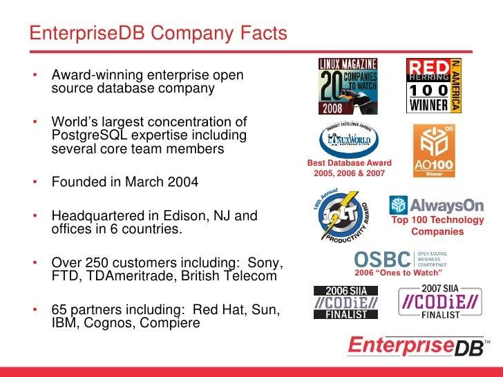 EnterpriseDB Company Facts • Award-winning