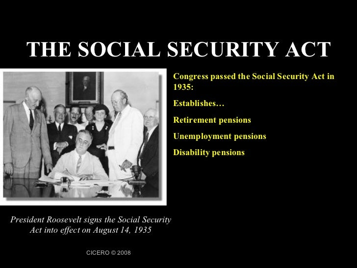 an essay on the social security act Roosevelt sent a message to congress two days later requesting social-security  legislation bills were introduced in the house and senate the.