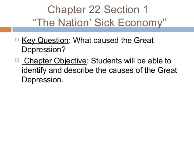Chapter 22 The GReat Depression – Causes of the Great Depression Worksheet